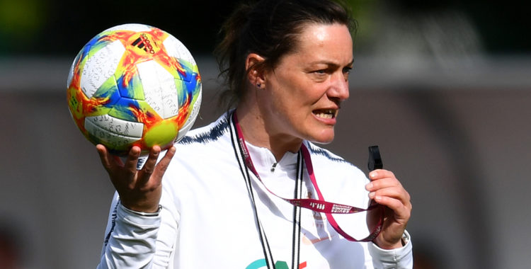 France's head coach Corinne Diacre leads her team players in a training session in Clairefontaine-en-Yvelines on May 16, 2019, as part of the team's preparation for the upcoming FIFA World Cup 2019 in France. (Photo by FRANCK FIFE / AFP)        (Photo credit should read FRANCK FIFE/AFP/Getty Images)
